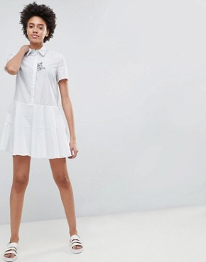 photo Shirt Dress with Embroidered Cat by Paul & Joe Sister, color White - Image 4
