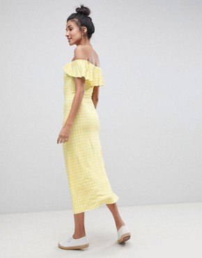 photo Off Shoulder Button Through Midi Sundress in Gingham by ASOS TALL, color Multi - Image 2