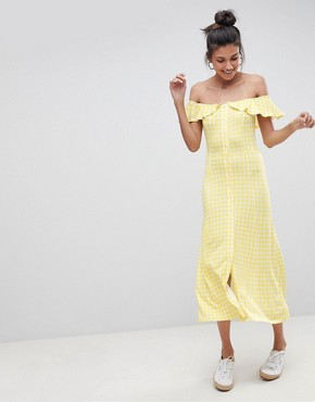photo Off Shoulder Button Through Midi Sundress in Gingham by ASOS TALL, color Multi - Image 4