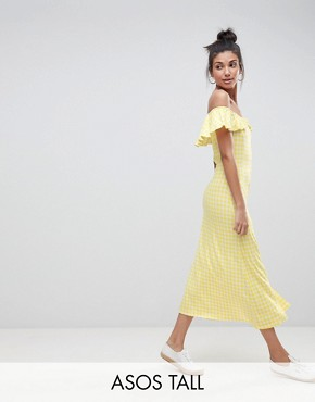 photo Off Shoulder Button Through Midi Sundress in Gingham by ASOS TALL, color Multi - Image 1