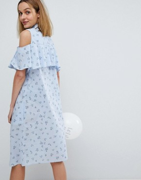 photo Ditsy Print Frill Dress by Paul & Joe Sister, color Blue - Image 2