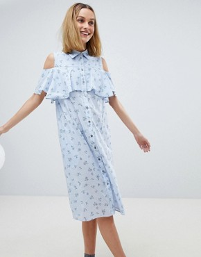 photo Ditsy Print Frill Dress by Paul & Joe Sister, color Blue - Image 1