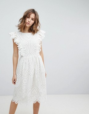 photo Broderie Anglaise Frill Dress by Paul & Joe Sister, color White - Image 1