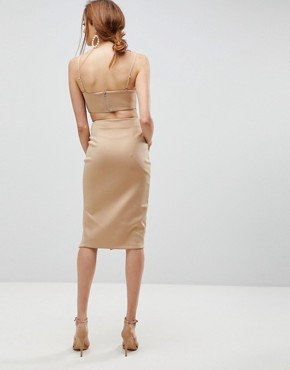 photo Corset Detail Cut Out Midi Bodycon Dress by ASOS TALL, color Camel - Image 2