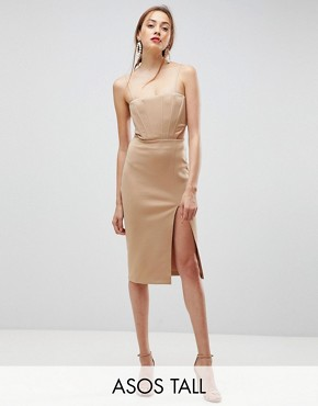 photo Corset Detail Cut Out Midi Bodycon Dress by ASOS TALL, color Camel - Image 1