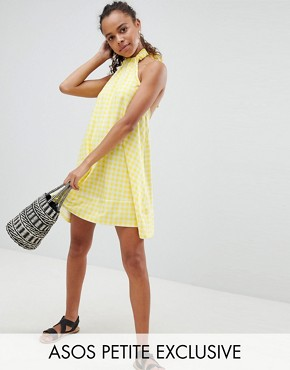 photo Halter Swing Sundress in Gingham by ASOS DESIGN Petite, color Multi - Image 1