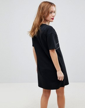 photo T-Shirt Dress with Contrast Seaming by ASOS PETITE, color Black - Image 2