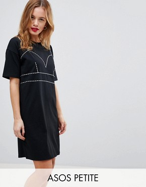 photo T-Shirt Dress with Contrast Seaming by ASOS PETITE, color Black - Image 1