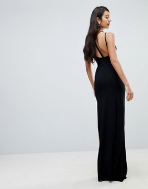 photo Maxi Dress with Strappy Detail by ASOS TALL, color Black - Image 2