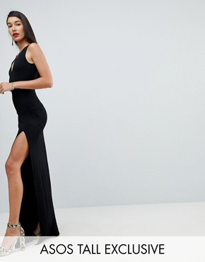 photo Maxi Dress with Strappy Detail by ASOS TALL, color Black - Image 1
