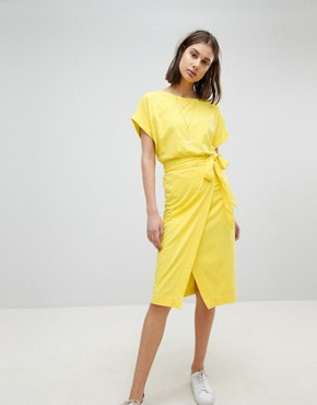 photo Jersey Tie Up Dress by BA&SH, color Yellow - Image 4