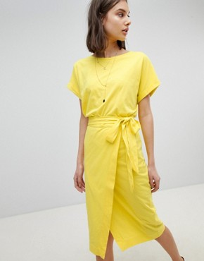 photo Jersey Tie Up Dress by BA&SH, color Yellow - Image 1