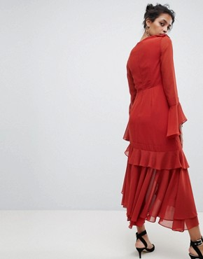 photo Ruffle Wrap Dress by C/Meo Collective, color Red - Image 2