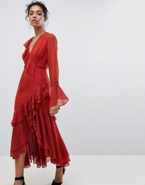 photo Ruffle Wrap Dress by C/Meo Collective, color Red - Image 1