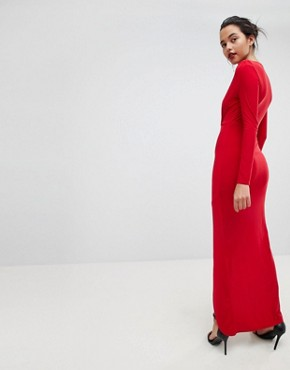 photo Plunge Front Wrapover Maxi Dress by Outrageous Fortune, color Red - Image 2