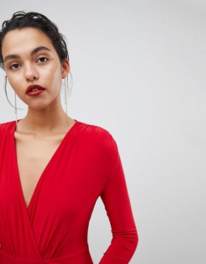 photo Plunge Front Wrapover Maxi Dress by Outrageous Fortune, color Red - Image 3