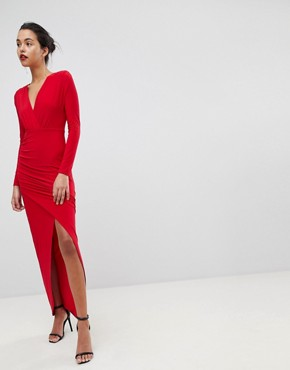 photo Plunge Front Wrapover Maxi Dress by Outrageous Fortune, color Red - Image 4