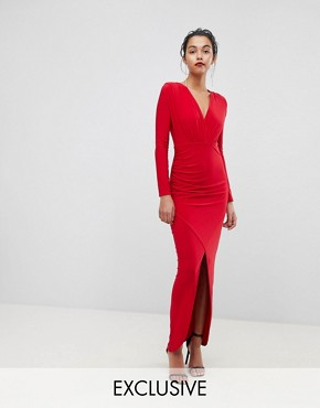 photo Plunge Front Wrapover Maxi Dress by Outrageous Fortune, color Red - Image 1