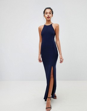photo High Neck Maxi Dress with Thigh Split by Outrageous Fortune, color Navy - Image 2