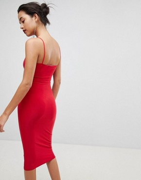 photo Square Neck Cami Strap Midi Dress by Outrageous Fortune, color Red - Image 2