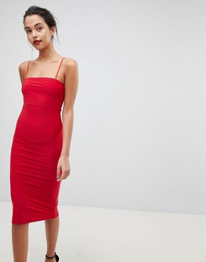 photo Square Neck Cami Strap Midi Dress by Outrageous Fortune, color Red - Image 1
