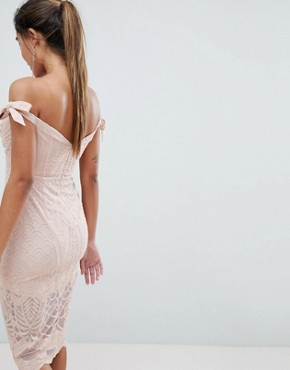 photo Bardot Tie Detail Lace Dress by Love Triangle, color Nude - Image 2