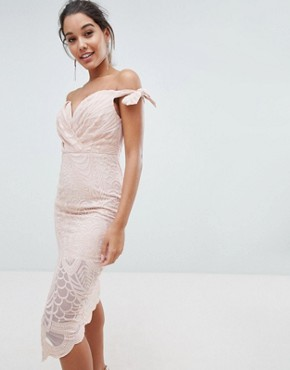 photo Bardot Tie Detail Lace Dress by Love Triangle, color Nude - Image 1
