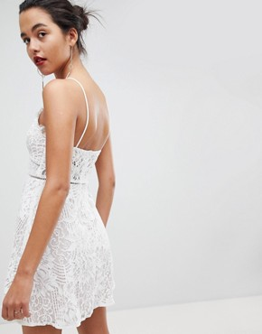 photo Strappy Detail Lace Skater Mini Dress by Love Triangle, color White - Image 2