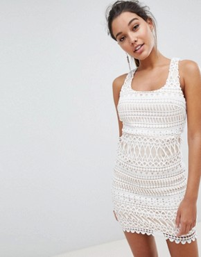 photo Stripe Detail Lace Mini Dress by Love Triangle, color White - Image 2