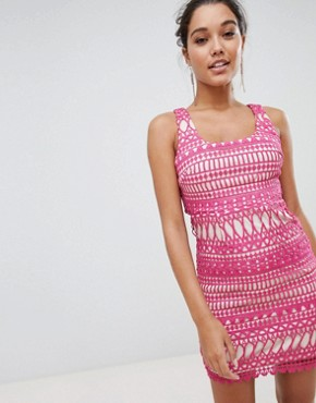 photo Stripe Detail Lace Midi Dress by Love Triangle, color Fuchsia - Image 1