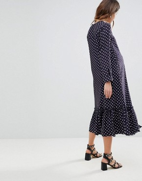 photo Button Through Midi Dress in Spot by ASOS Maternity, color Multi - Image 2