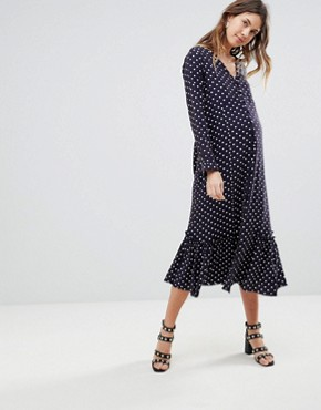 photo Button Through Midi Dress in Spot by ASOS Maternity, color Multi - Image 1