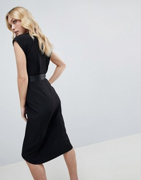 photo Tux Midi Dress with Satin Detail by ASOS DESIGN Tall, color Black - Image 2