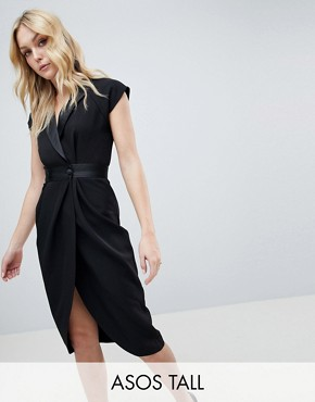 photo Tux Midi Dress with Satin Detail by ASOS DESIGN Tall, color Black - Image 1
