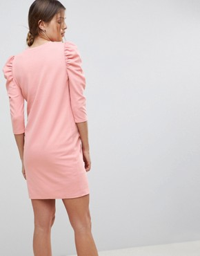 photo Crepe Mini Dress with Puff Sleeves by ASOS Maternity, color Pink - Image 2