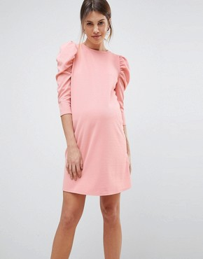 photo Crepe Mini Dress with Puff Sleeves by ASOS Maternity, color Pink - Image 1
