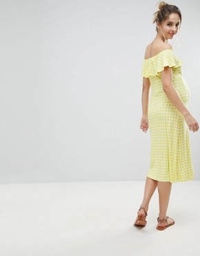 photo Off Shoulder Button Through Midi Sundress in Gingham by ASOS Maternity, color Multi - Image 2
