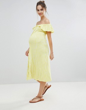 photo Off Shoulder Button Through Midi Sundress in Gingham by ASOS Maternity, color Multi - Image 1
