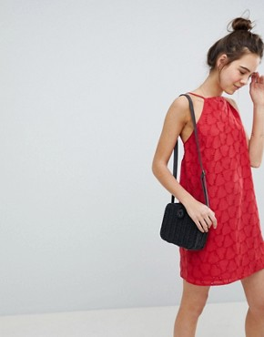 photo Low Back Mini Sundress in Heart Broderie by ASOS DESIGN, color Red - Image 2