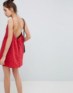 photo Low Back Mini Sundress in Heart Broderie by ASOS DESIGN, color Red - Image 1