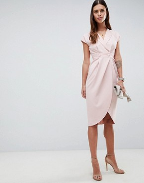 photo Tux Midi Dress with Satin Detail by ASOS DESIGN, color Nude - Image 1