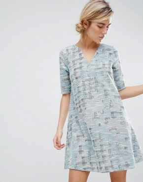 photo Dress in Tapestry Weave Fabric by See U Soon, color Blue - Image 1