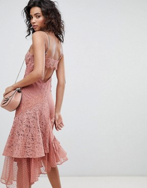 photo Mix & Match Lace & Dobby Cami Dress by ASOS DESIGN, color Dusty Rose - Image 2