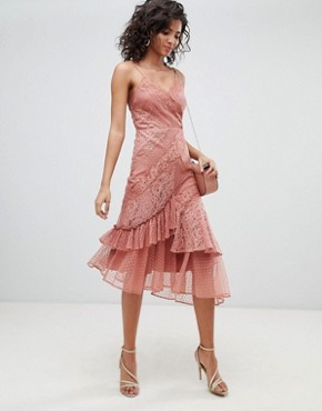 photo Mix & Match Lace & Dobby Cami Dress by ASOS DESIGN, color Dusty Rose - Image 1
