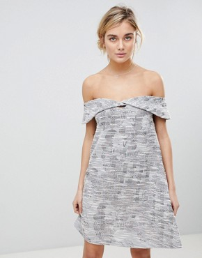 photo Off Shoulder Dress in Jacquard Mix by See U Soon, color Purple - Image 1