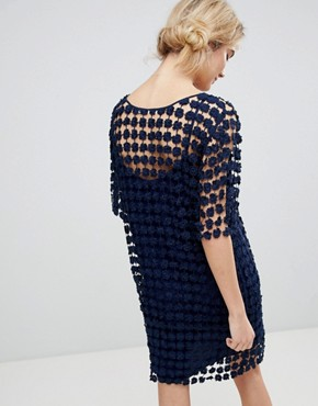photo Shift Dress in Floral Crochet by See U Soon, color Navy - Image 2