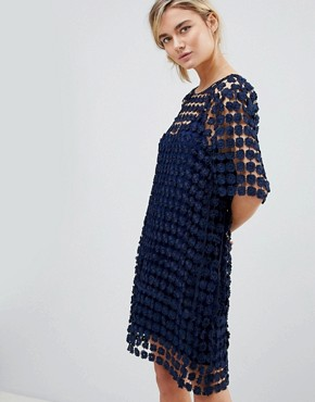 photo Shift Dress in Floral Crochet by See U Soon, color Navy - Image 1