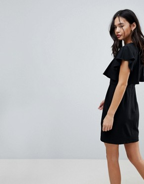 photo Double Layer Mini Wiggle Dress with Angel Sleeve by ASOS, color Black - Image 2