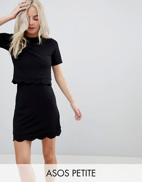 photo Scalloped Hem Mini Dress with Crop Top by ASOS PETITE, color Black - Image 1