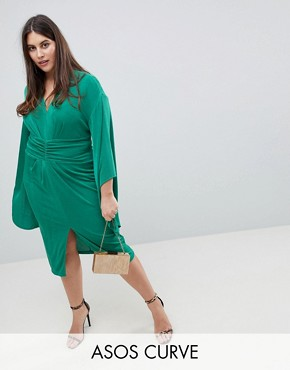 photo Deep Plunge Slinky Kimono Midi Dress by ASOS CURVE, color Emerald Green - Image 1